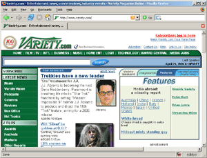 "Screen capture of Variety's web page, claiming ""Trekkies have a new leader"""